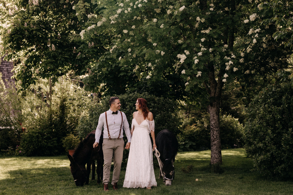 Brautpaarshooting mit Esel