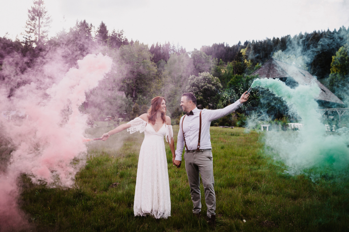 Brautpaarshooting Rauchbomben