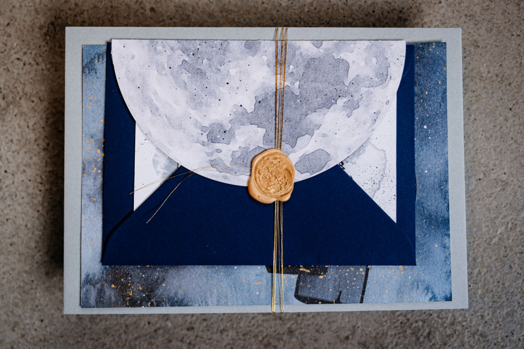 Hochzeitspapeterie Mond Sterne Blau